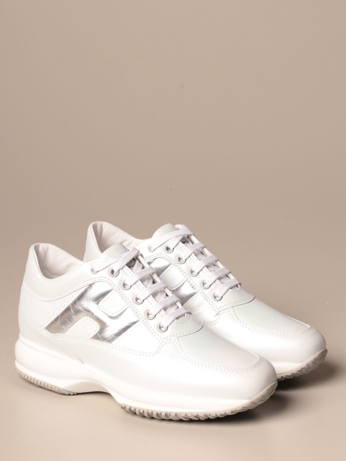 Interactive Hogan leather sneakers with rounded H