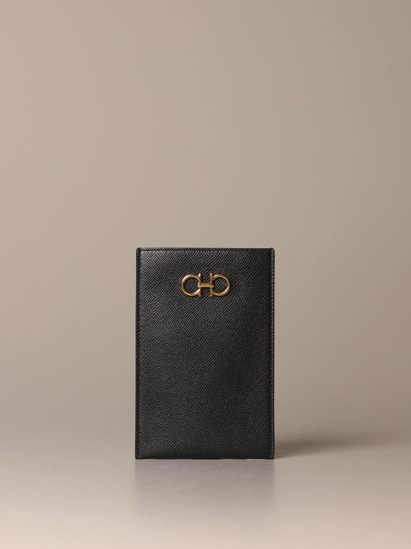 Mini bag Salvatore Ferragamo: Gancini Salvatore Ferragamo leather phone pouch black 1