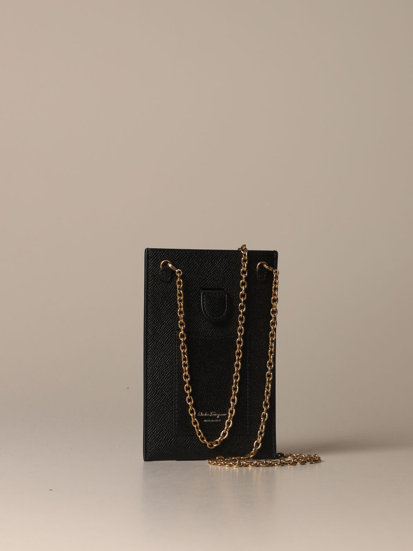 Mini bag Salvatore Ferragamo: Gancini Salvatore Ferragamo leather phone pouch black 3