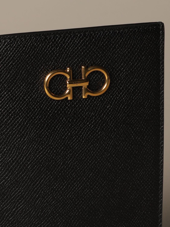 Mini bag Salvatore Ferragamo: Gancini Salvatore Ferragamo leather phone pouch black 4