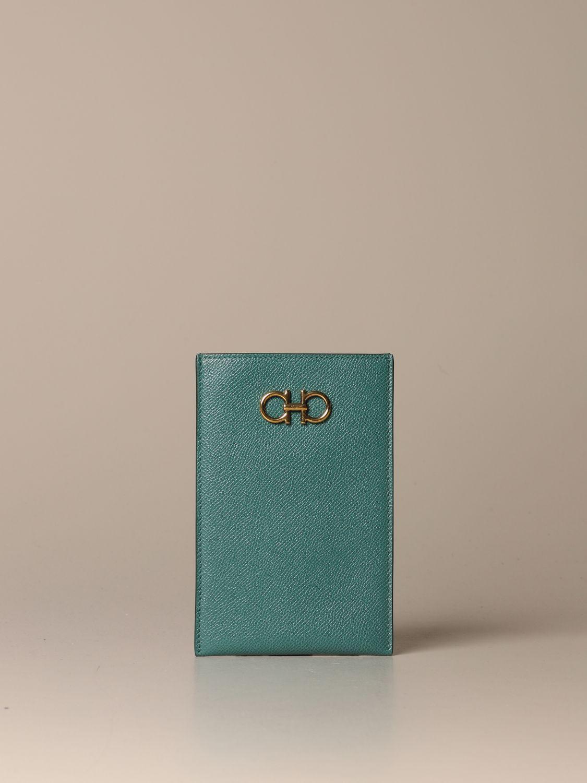 Mini bag Salvatore Ferragamo: Gancini Salvatore Ferragamo leather phone pouch green 1