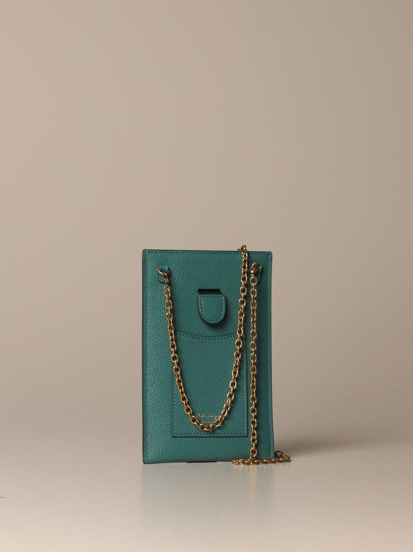 Mini bag Salvatore Ferragamo: Gancini Salvatore Ferragamo leather phone pouch green 3