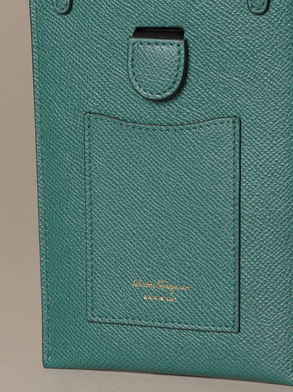 Mini bag Salvatore Ferragamo: Gancini Salvatore Ferragamo leather phone pouch green 4