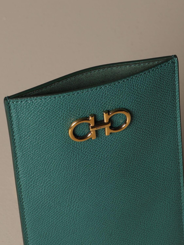 Mini bag Salvatore Ferragamo: Gancini Salvatore Ferragamo leather phone pouch green 5