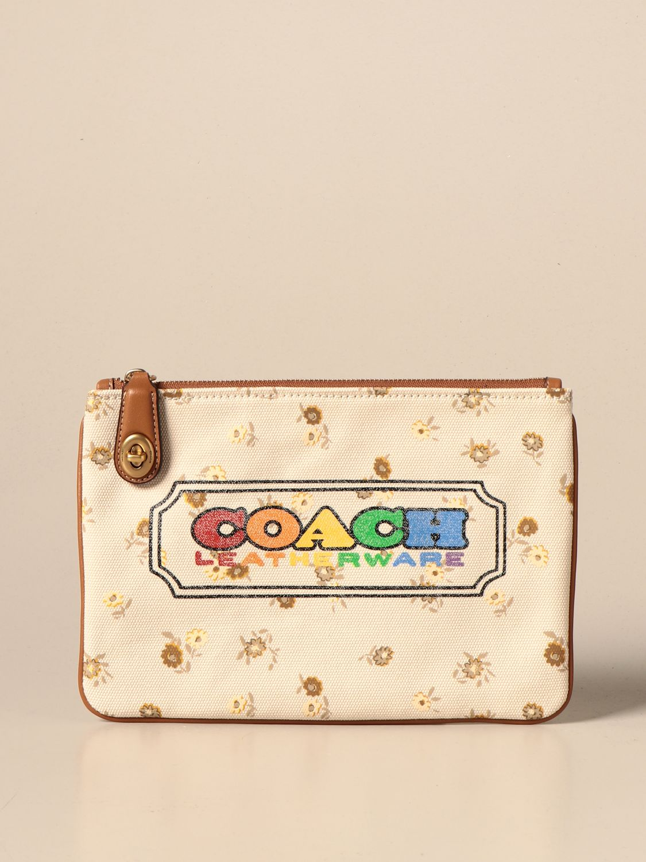 Clutch Coach: Pochette Coach in canvas con stampa logo beige 1