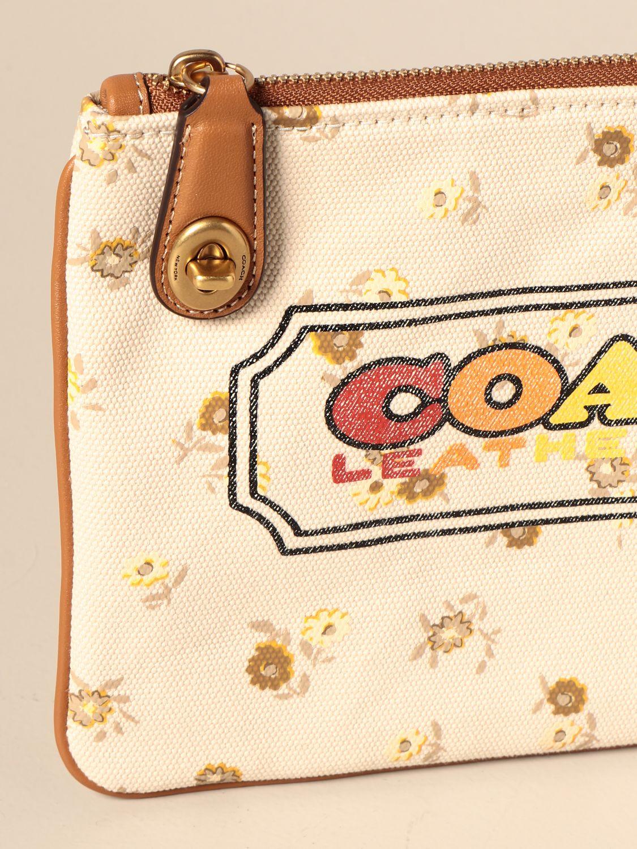 Clutch Coach: Pochette Coach in canvas con stampa logo beige 3
