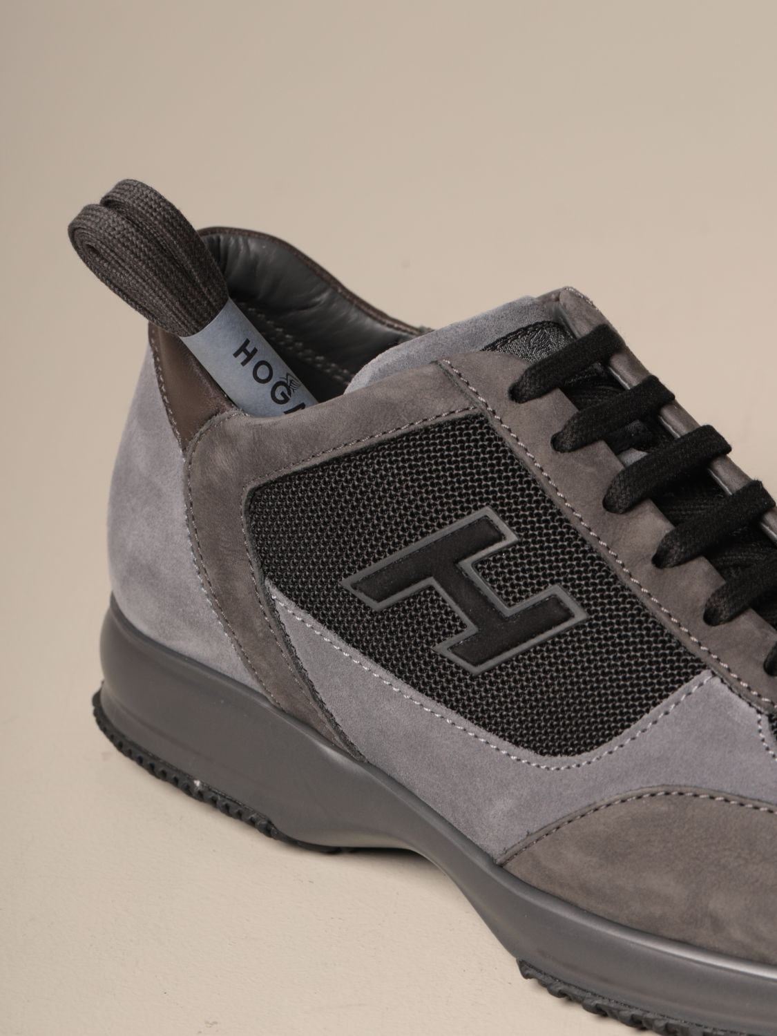 Interactive Hogan leather and mesh sneakers with H flock