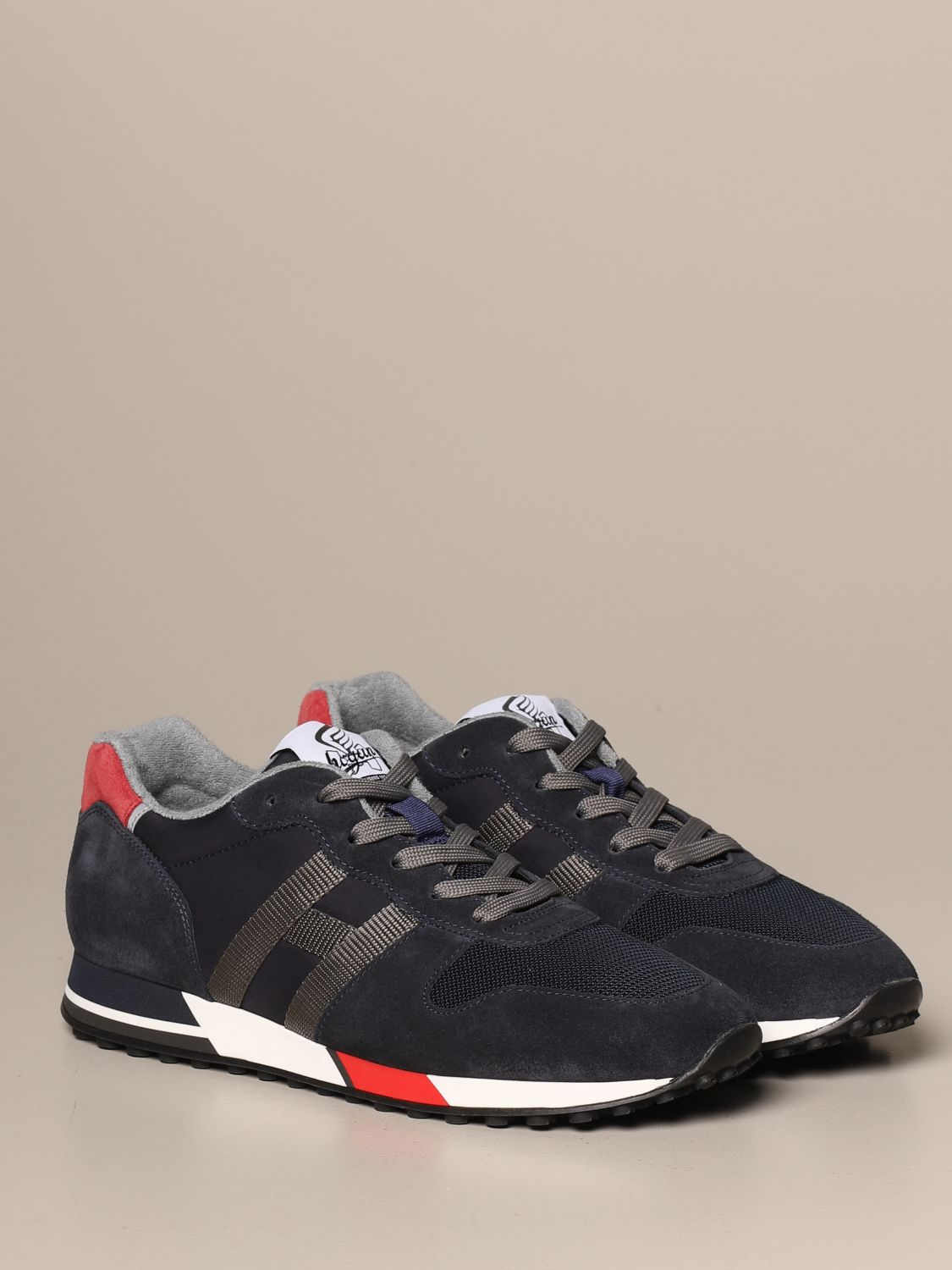 H383 Hogan split leather running sneakers and two-tone mesh