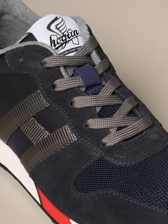 Sneakers H383 running Hogan in crosta e rete bicolor
