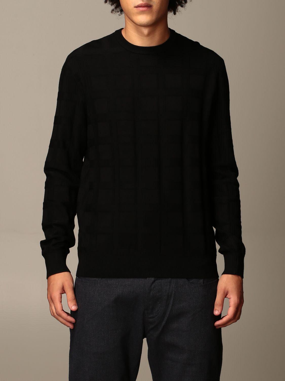 Sweater Emporio Armani: Emporio Armani sweater in checked viscose blend black 1