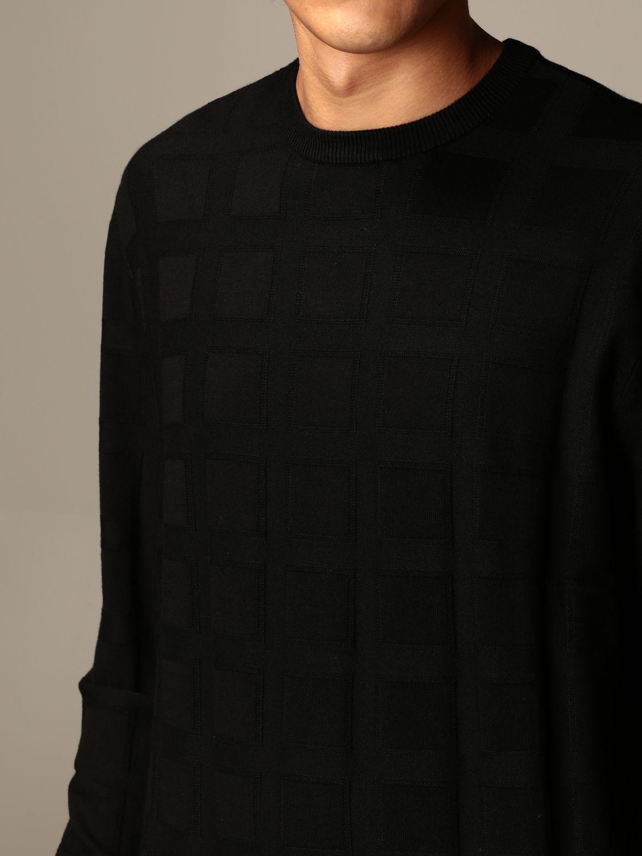 Sweater Emporio Armani: Emporio Armani sweater in checked viscose blend black 3