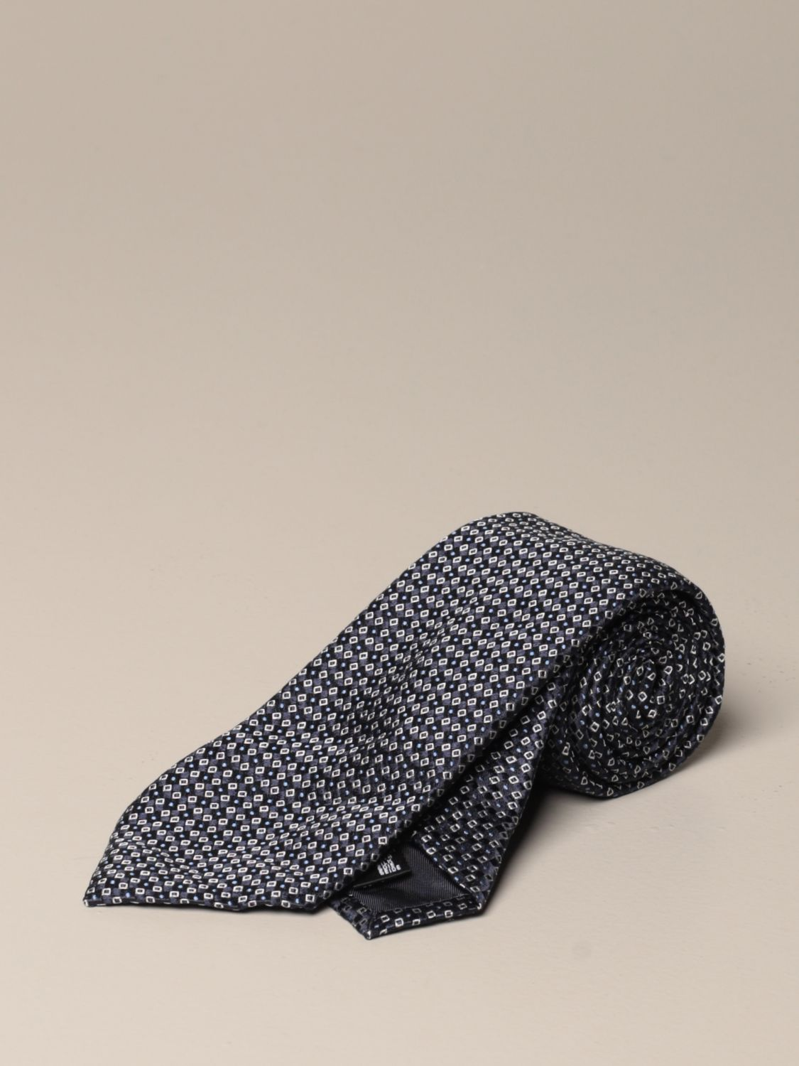 Tie Emporio Armani: Emporio Armani tie in patterned silk blue 1