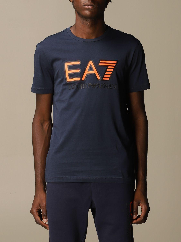 T-shirt Ea7: EA7 cotton t-shirt with printed logo blue 1