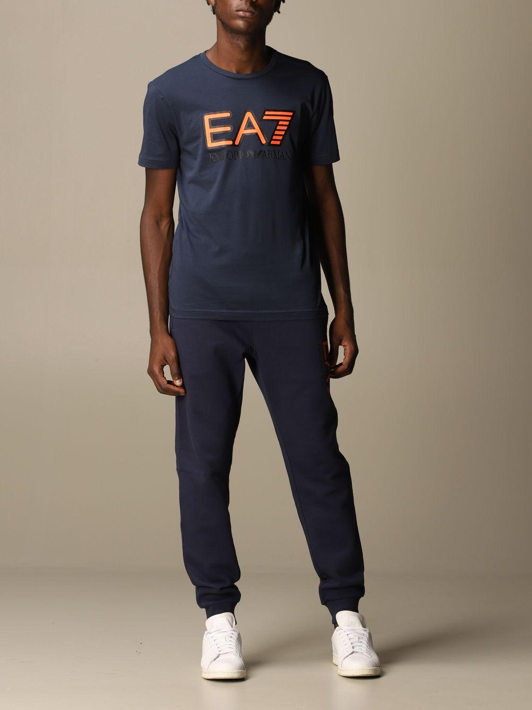 T-shirt Ea7: EA7 cotton t-shirt with printed logo blue 2