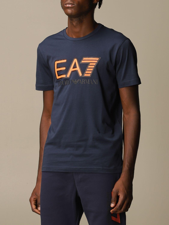 T-shirt Ea7: EA7 cotton t-shirt with printed logo blue 4