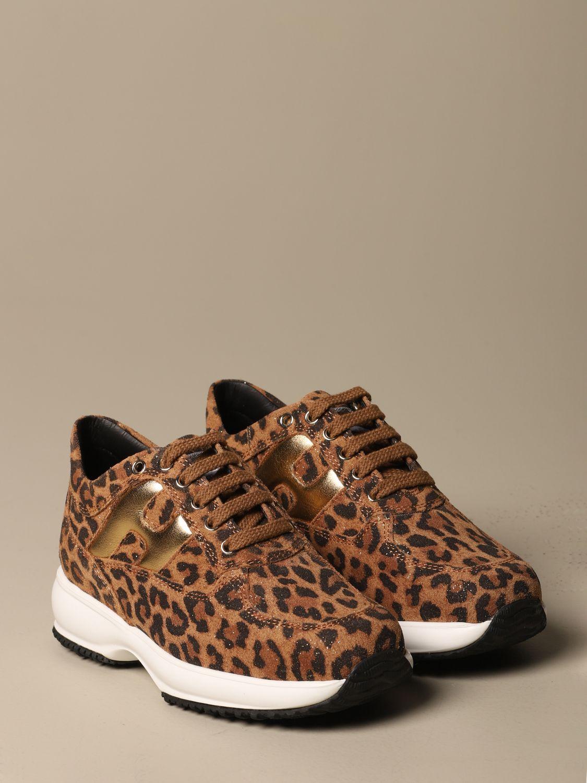 Sneakers Interactive Hogan in crosta leopardata con H bombata