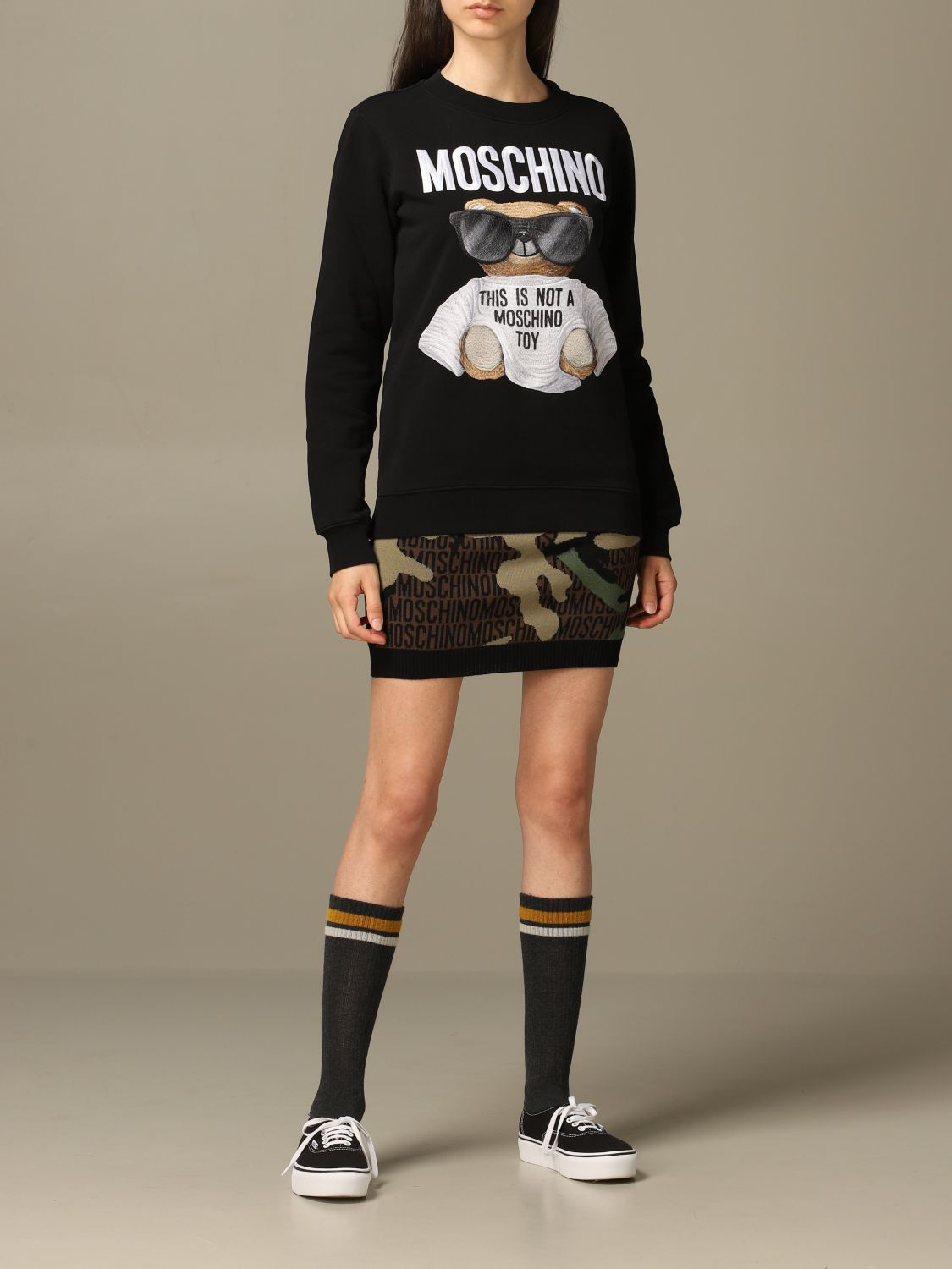 Sweatshirt Moschino Couture: Moschino Couture sweatshirt with Teddy Bear patch black 2