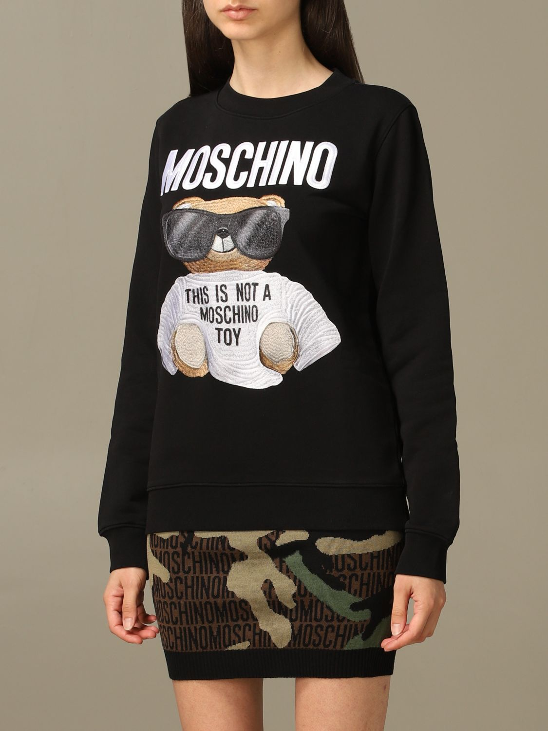 Sweatshirt Moschino Couture: Moschino Couture sweatshirt with Teddy Bear patch black 4