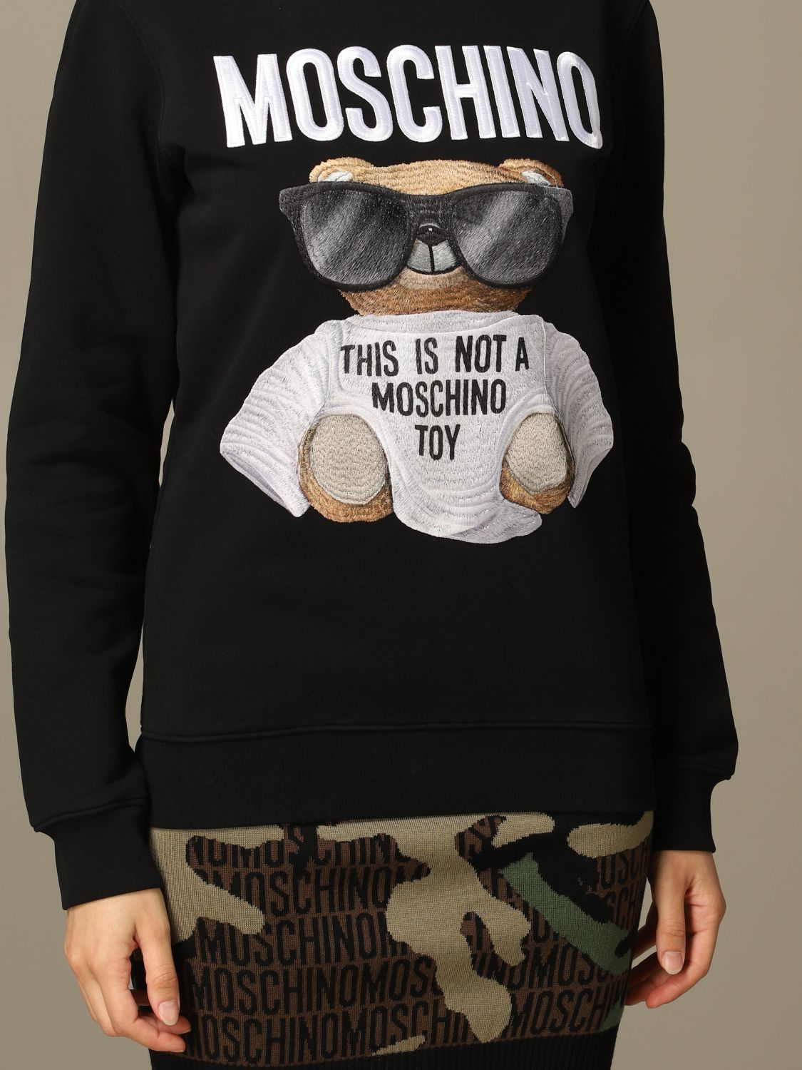 Sweatshirt Moschino Couture: Moschino Couture sweatshirt with Teddy Bear patch black 5