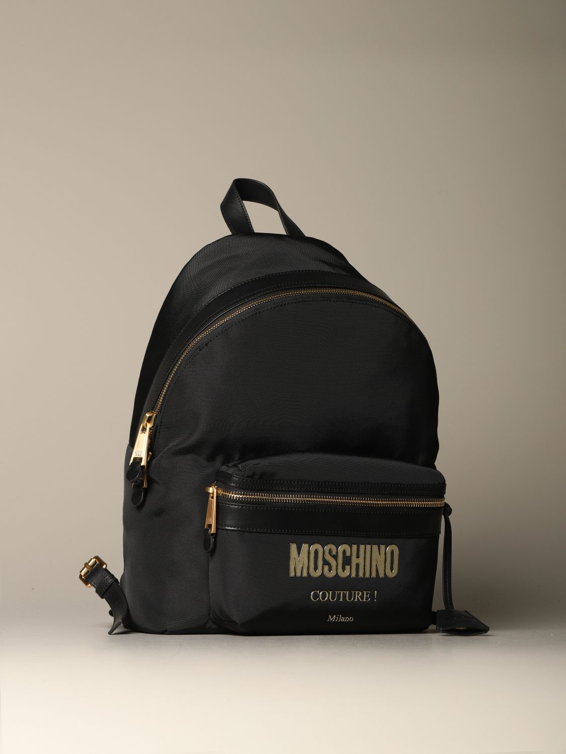 Backpack Moschino Couture: Moschino Couture backpack in canvas with logo black 3
