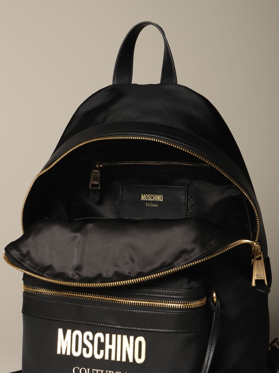 Backpack Moschino Couture: Moschino Couture backpack in canvas with logo black 4
