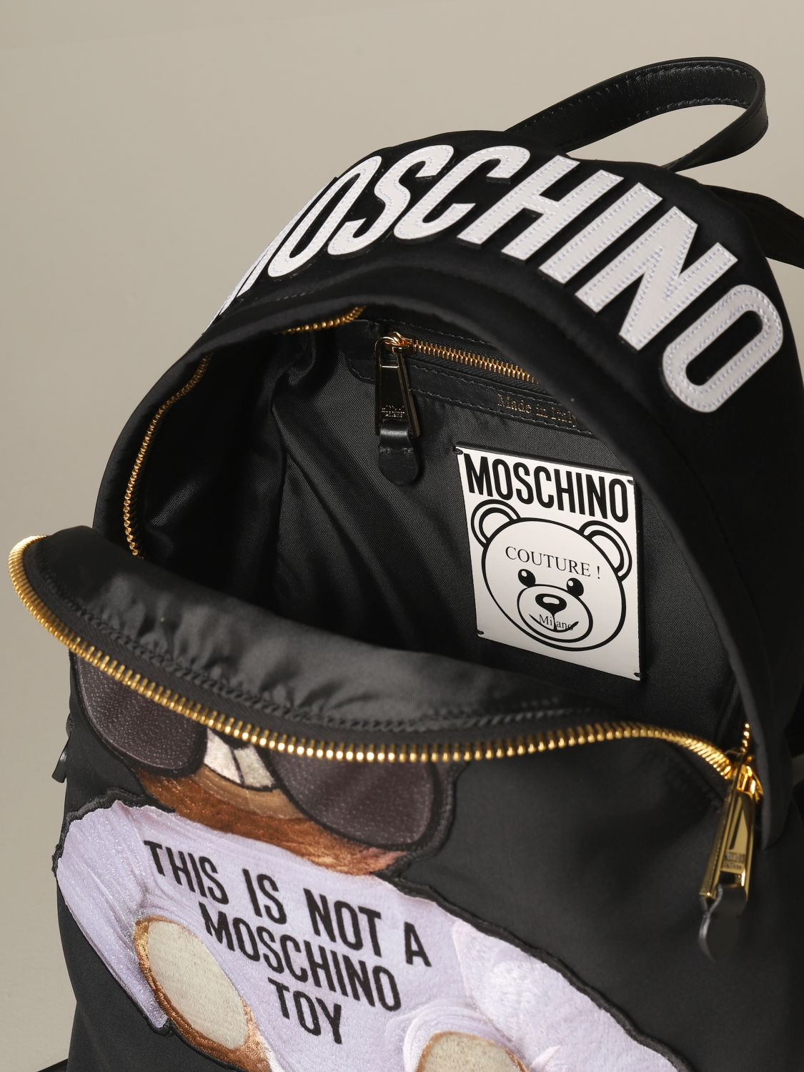 Backpack Moschino Couture: Moschino Couture nylon backpack with Teddy black 4