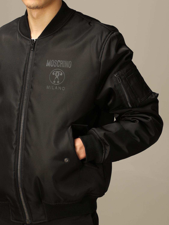 Giacca Moschino Couture: Bomber Moschino Couture in nylon con big logo Double Question Mark nero 3