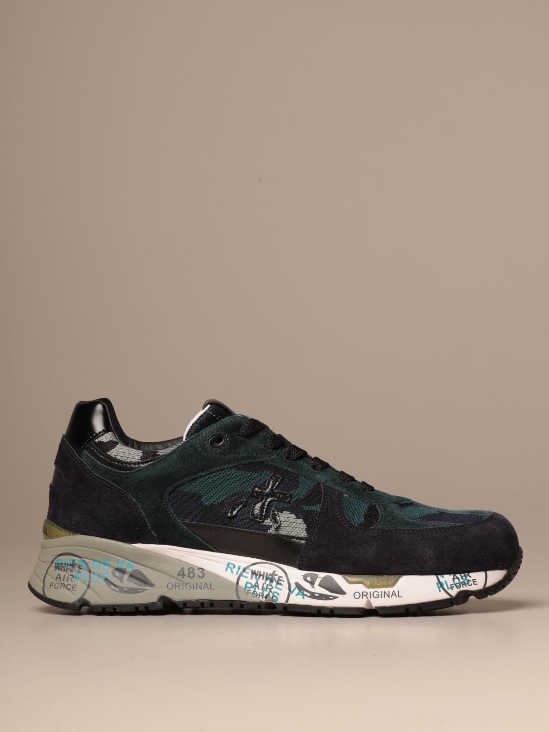 Sneakers Premiata: Mase Premiata sneakers in suede and camouflage fabric blue 1