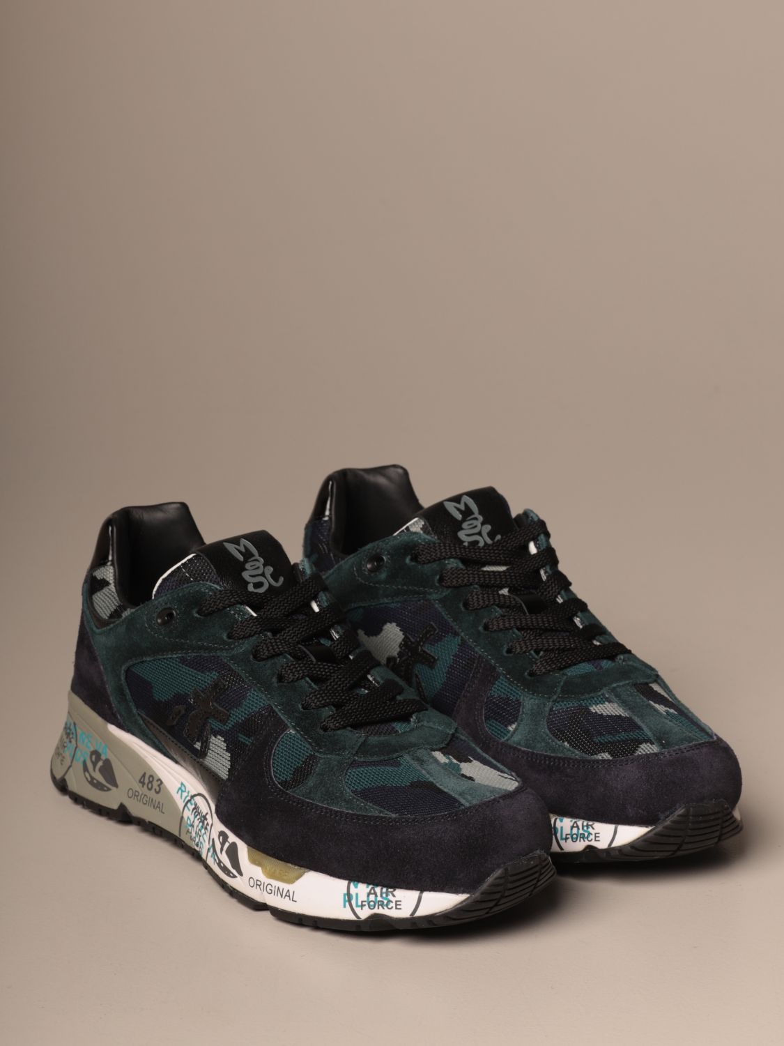Sneakers Premiata: Mase Premiata sneakers in suede and camouflage fabric blue 2