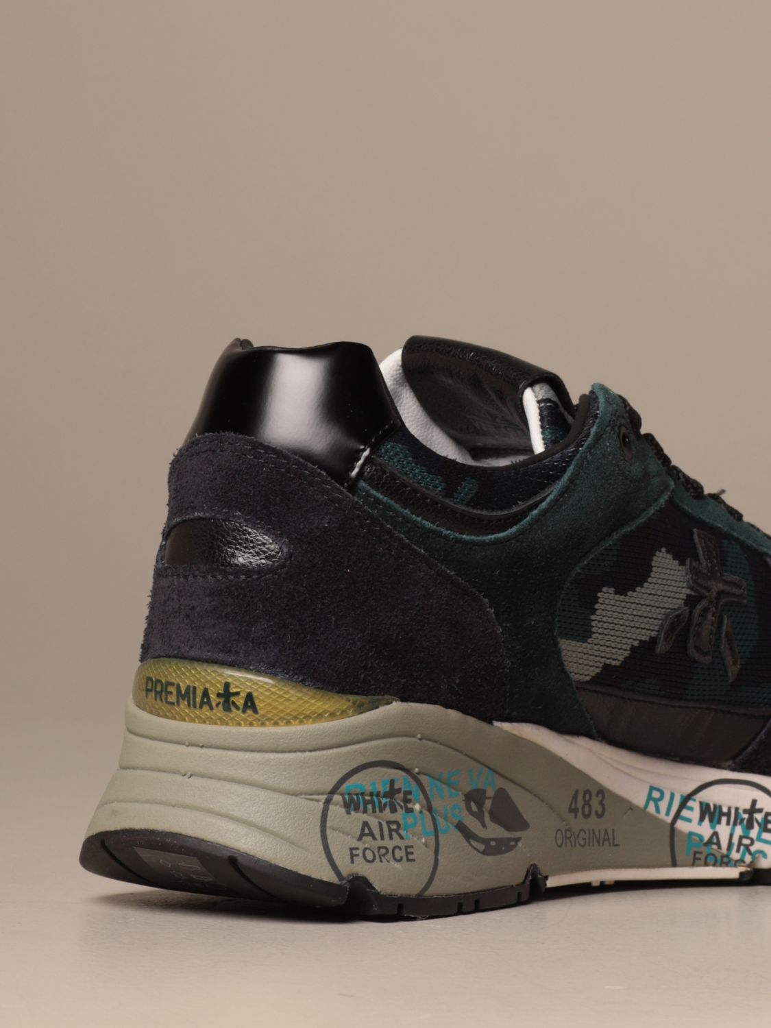 Sneakers Premiata: Mase Premiata sneakers in suede and camouflage fabric blue 3
