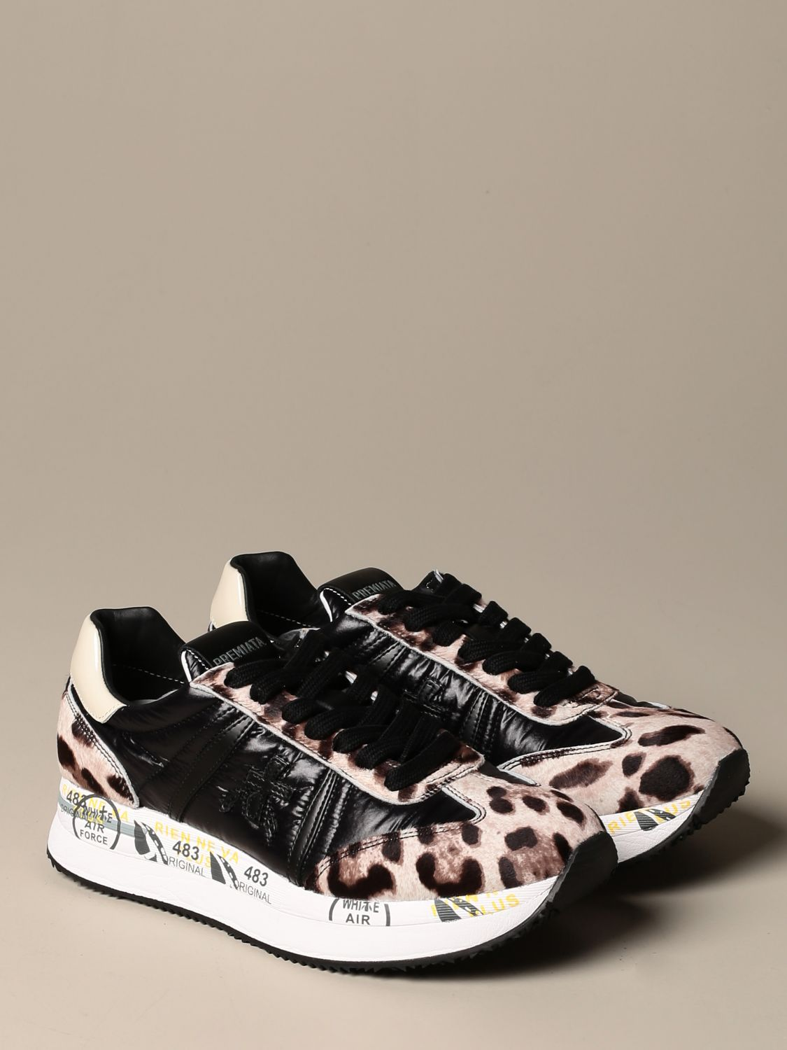 Sneakers Premiata: Conny Premiata sneakers in spotted pony and leather black 2