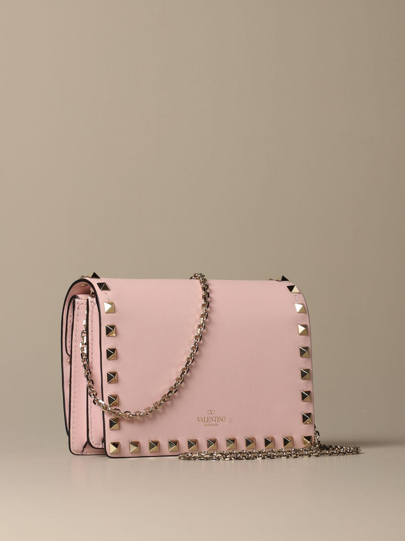 Mini bag Valentino Garavani: Valentino Garavani Rockstud leather shoulder bag pink 3