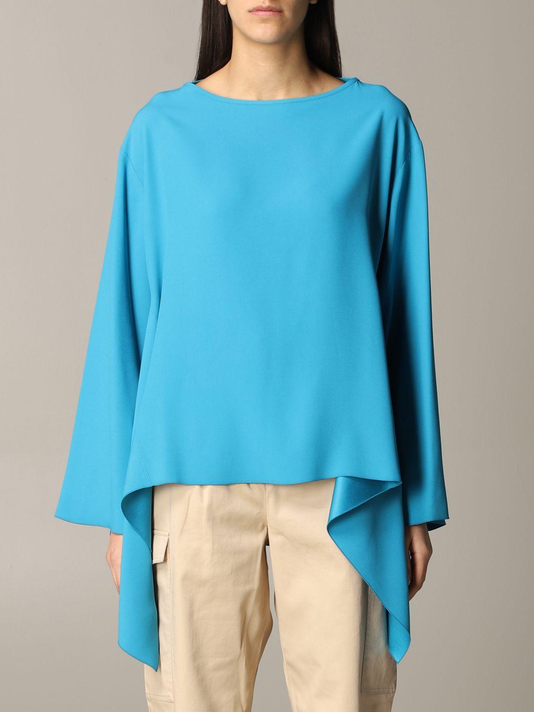 衬衫 Alberta Ferretti: Alberta Ferretti 不对称下摆衬衫 绿松石蓝 1