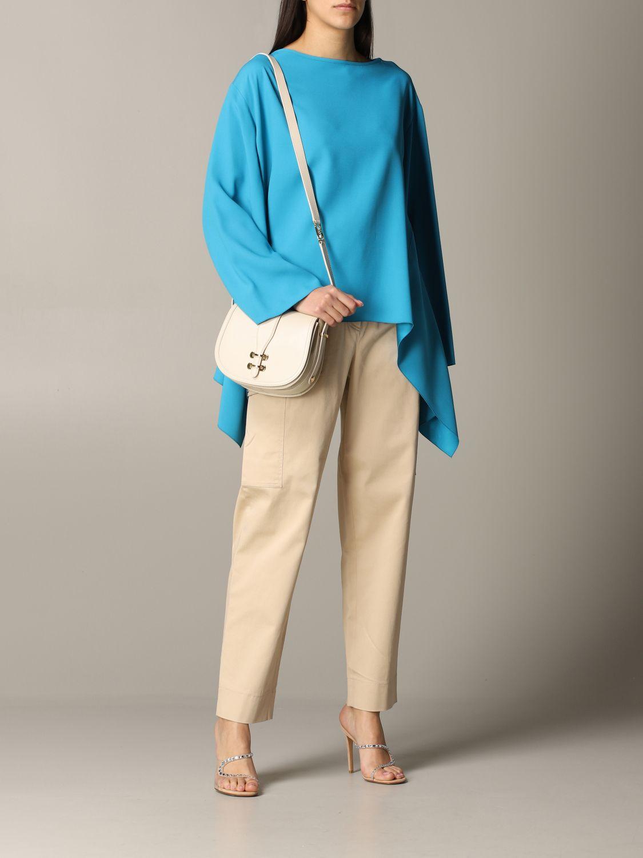 衬衫 Alberta Ferretti: Alberta Ferretti 不对称下摆衬衫 绿松石蓝 2