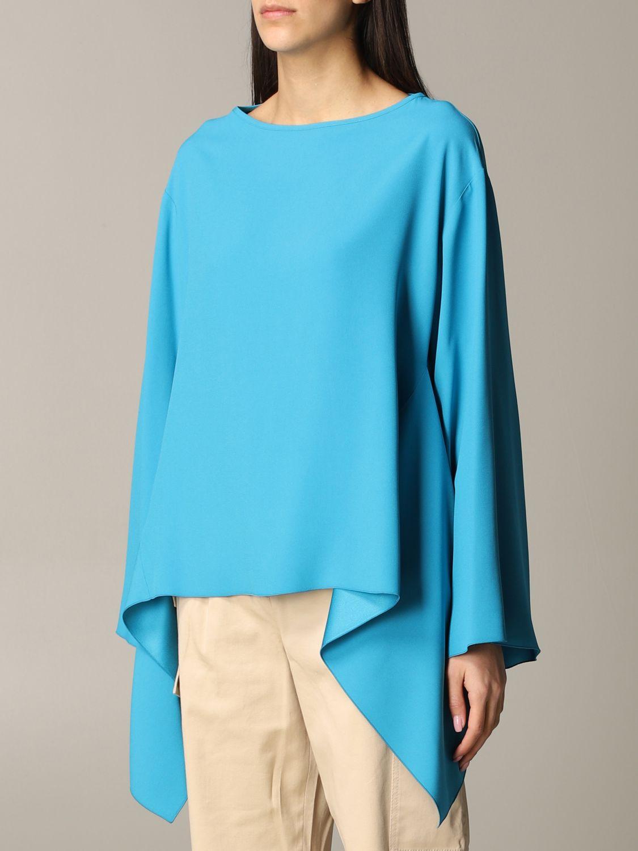 衬衫 Alberta Ferretti: Alberta Ferretti 不对称下摆衬衫 绿松石蓝 4