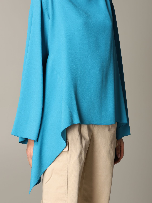 衬衫 Alberta Ferretti: Alberta Ferretti 不对称下摆衬衫 绿松石蓝 5