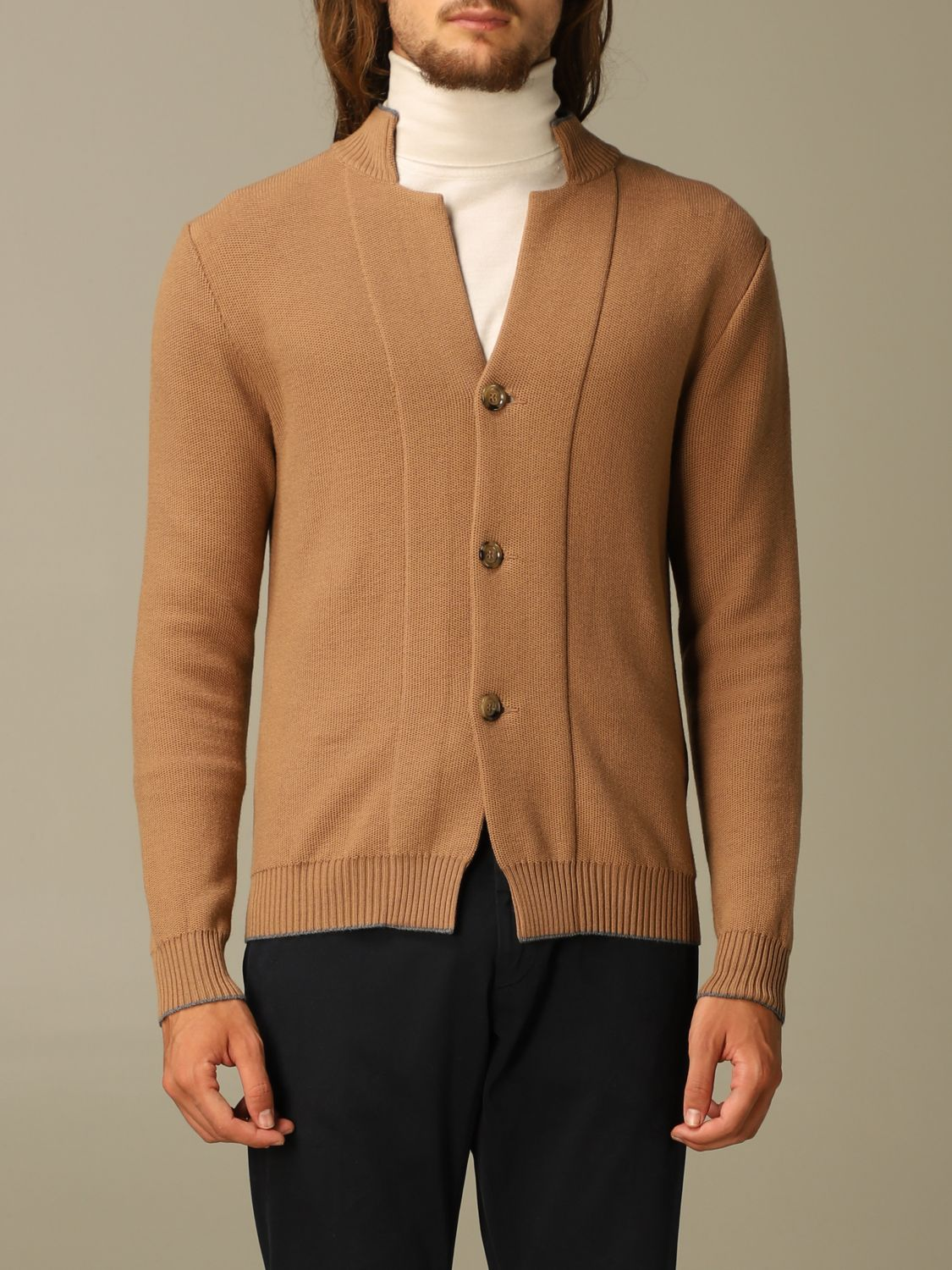 Sweater Eleventy: Eleventy cardigan in virgin wool camel 1