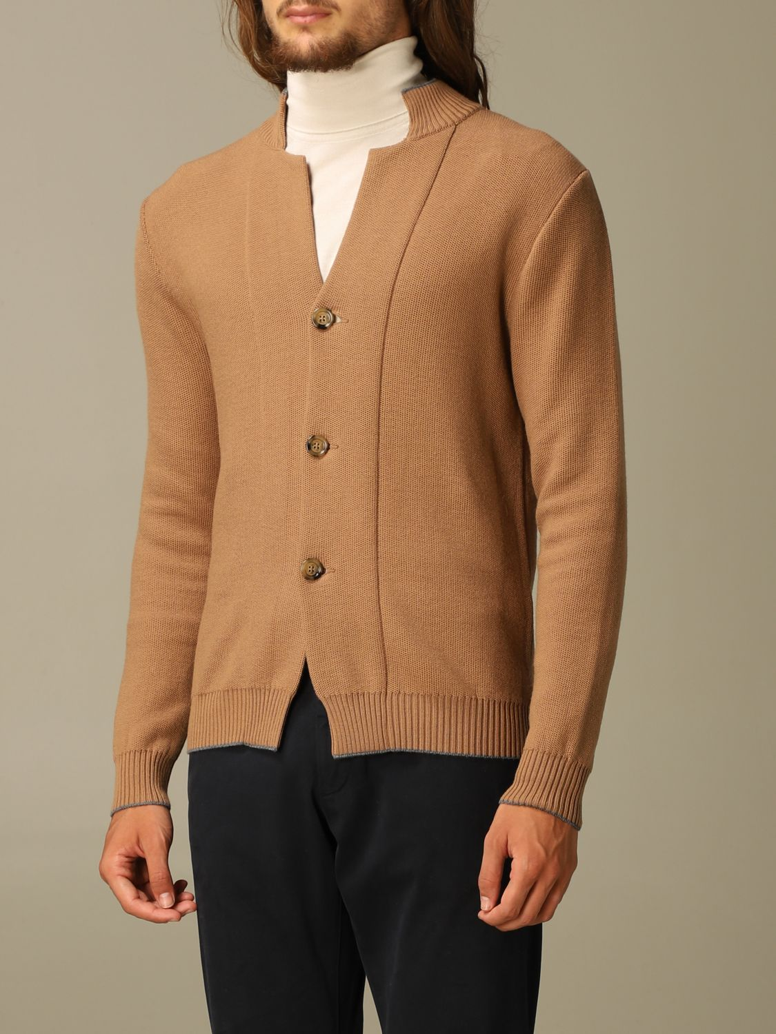 Sweater Eleventy: Eleventy cardigan in virgin wool camel 3