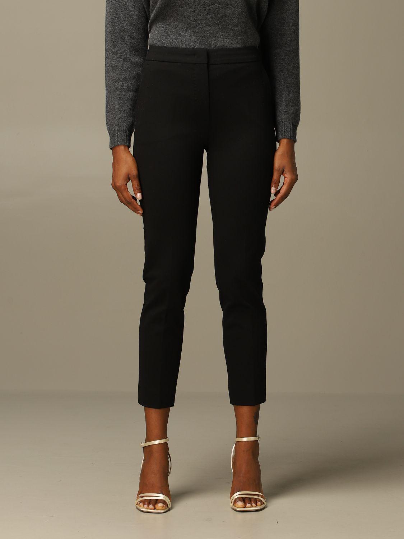 Pantalone Max Mara: Pantalone Pegno Max Mara in jersey di cotone slim fit nero 1