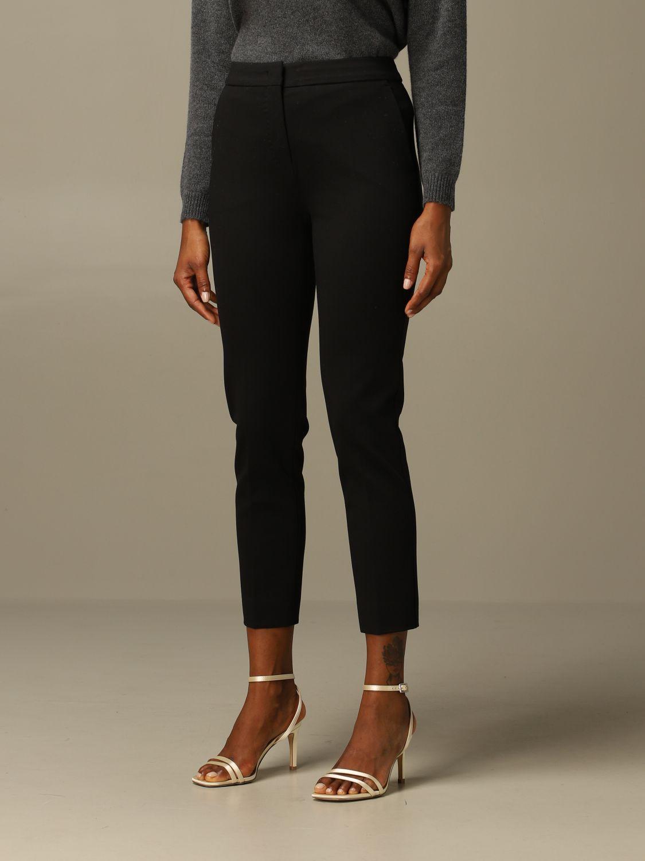 Pantalone Max Mara: Pantalone Pegno Max Mara in jersey di cotone slim fit nero 3