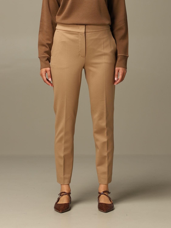 Pantalone Max Mara: Pantalone Pegno Max Mara in jersey di cotone slim fit cammello 1