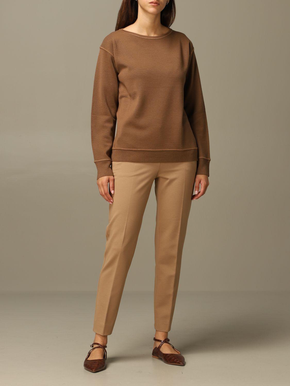 Pantalone Max Mara: Pantalone Pegno Max Mara in jersey di cotone slim fit cammello 2