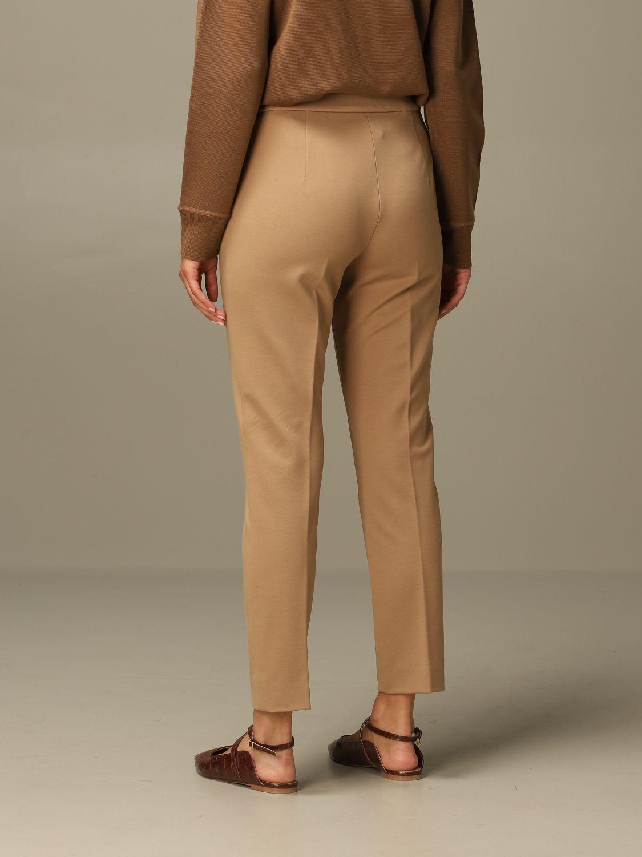 Pantalone Max Mara: Pantalone Pegno Max Mara in jersey di cotone slim fit cammello 3