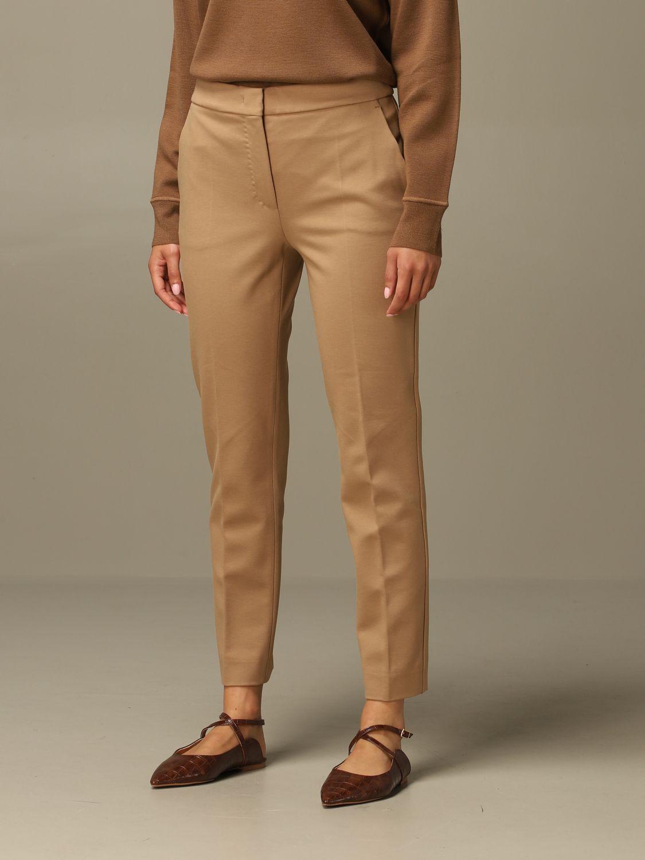 Pantalone Max Mara: Pantalone Pegno Max Mara in jersey di cotone slim fit cammello 4