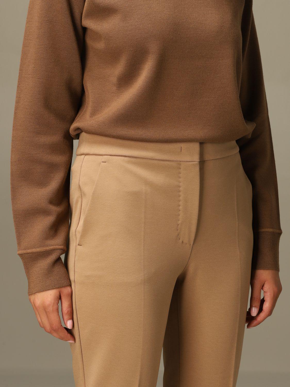 Pantalone Max Mara: Pantalone Pegno Max Mara in jersey di cotone slim fit cammello 5