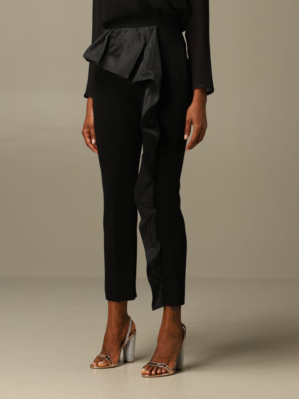 Pantalone Max Mara: Pantalone Etna Max Mara in cady con rouches nero 4