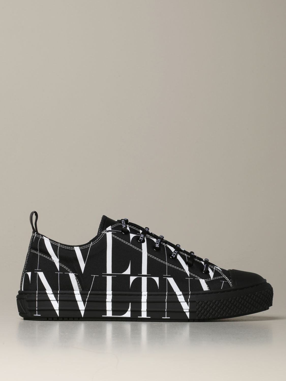 Sneakers Valentino Garavani: Valentino Garavani Giggies sneakers in all-over VLTN canvas and leather black 1