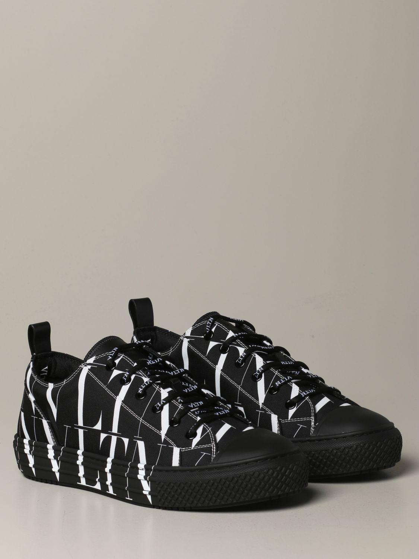 Sneakers Valentino Garavani: Valentino Garavani Giggies sneakers in all-over VLTN canvas and leather black 2