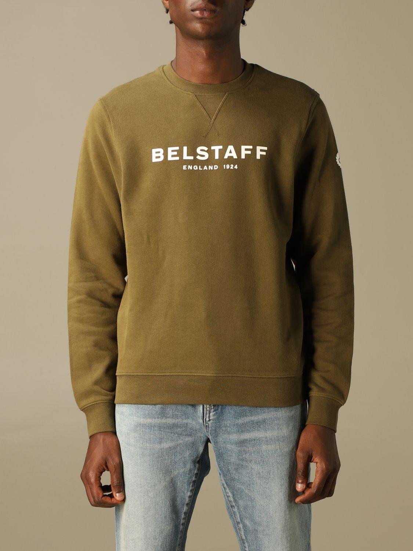Felpa Belstaff: Felpa Belstaff in cotone con logo verde 1