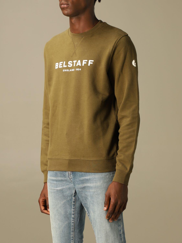 Felpa Belstaff: Felpa Belstaff in cotone con logo verde 3